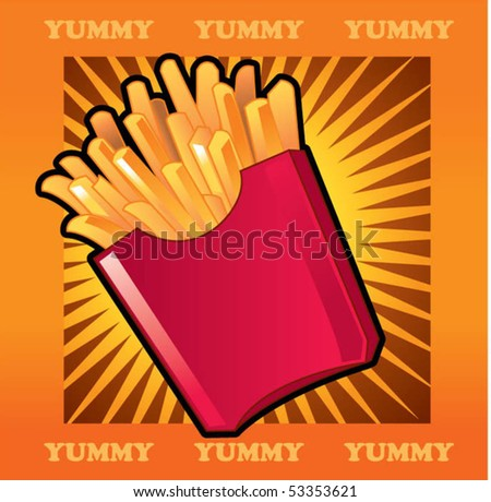 french fried - stock vector