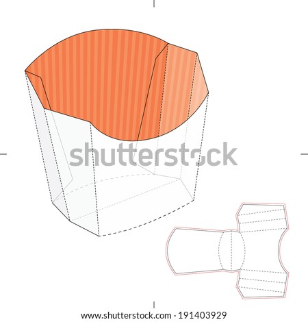 French Fries Disposable Paper Box with Die cut Layout - stock vector