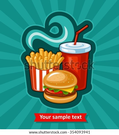 French fries, hamburger and soda takeaway vector background. Fast food flat design