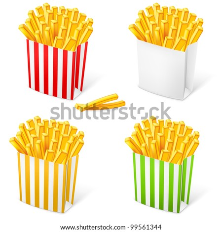 French fries in a multi-colored striped packaging. Illustration on white background