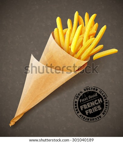 French fries in paper bag. Eps10 vector illustration. Isolated on white background - stock vector