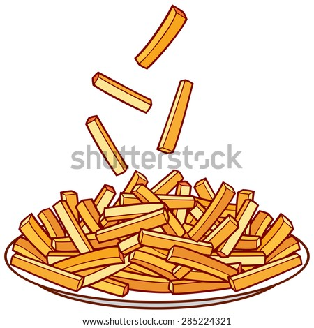 french fries on a plate  - stock vector