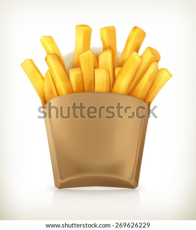 French fries, vector icon - stock vector
