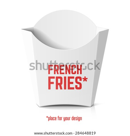 French fries white paper box template with place for your design. Vector. - stock vector