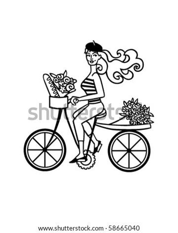 french girl on bike retro clip stock vector royalty free 58665040 rh shutterstock com Mountain Bike Clip Art Bike Race Clip Art