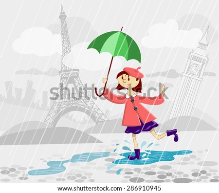 French girl with umbrella running under rain - stock vector