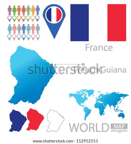 French Guiana. France. flag. World Map. vector Illustration.