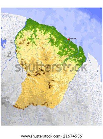 French Guiana. Physical vector map, colored according to elevation, with rivers and selected cities. Surrounding territory greyed out. 37 layers, fully editable. Data source: NASA