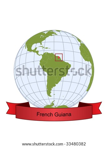 French Guiana, position on the globe