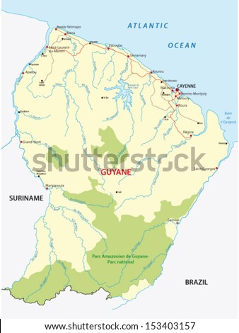 French Guiana Road Map Stock Vector 153403157 Shutterstock