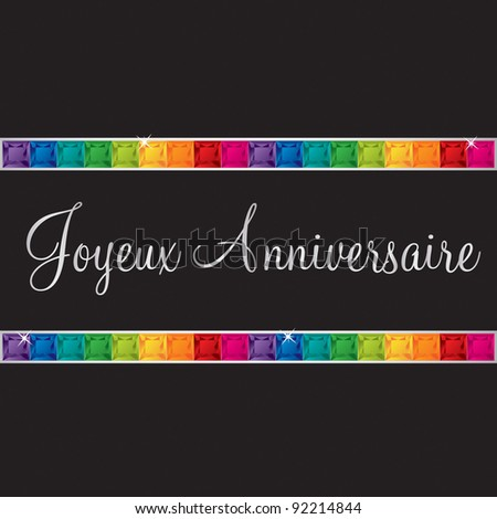 French 'Happy Birthday' card in vector format. - stock vector