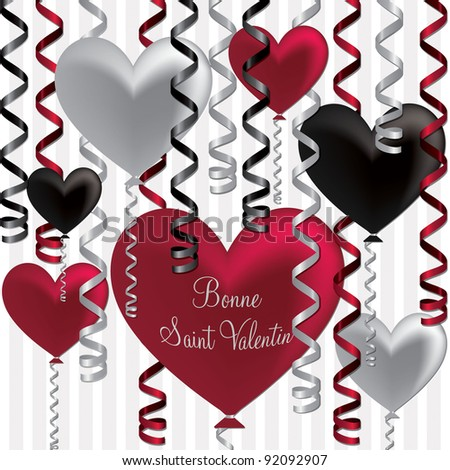 French Happy Valentineu0027s Day Balloon Card In Vector Format.