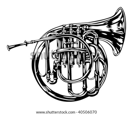 French horn illustration - stock vector