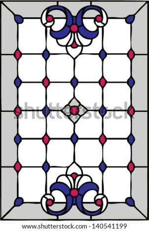 French Lilies, symmetric composition, seamless background, vector illustrations in stained glass window - stock vector