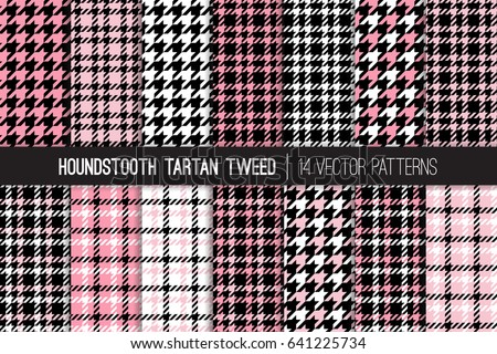 French Pink Black White Houndstooth Tartan Stock Vector