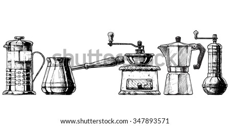 French press, Cezve,  old fashioned manual burr mill coffee grinder, moka pot, turkish - stock vector