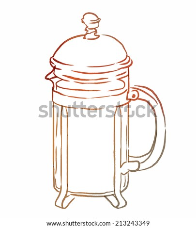French press with coffee or tea, watercolor illustration in vector - stock vector