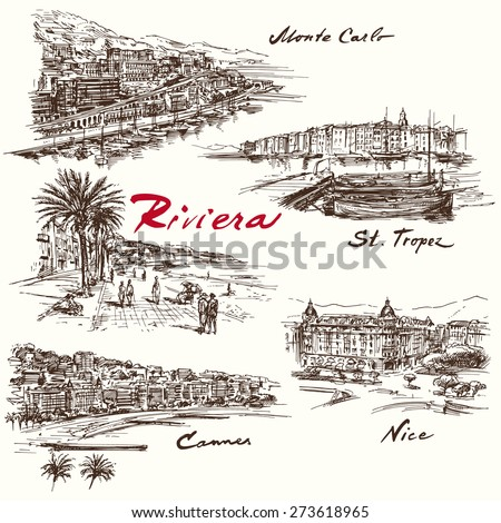 French Riviera - hand drawn set - stock vector