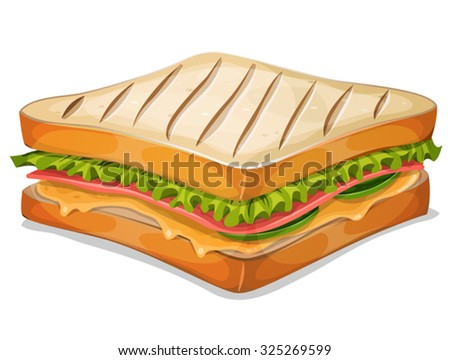 French Sandwich Icon/ Illustration of an appetizing cartoon fast food french sandwich icon, with ham slice, melted cheese, salad leaves and classic grilled bread, for takeout restaurant - stock vector