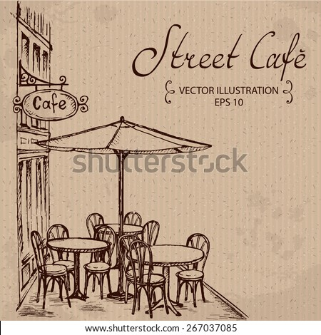 French Street Cafe, Hand drawn Vector Illustration - stock vector
