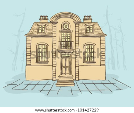 French style house - stock vector