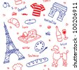 French symbols and icons seamless pattern - stock photo