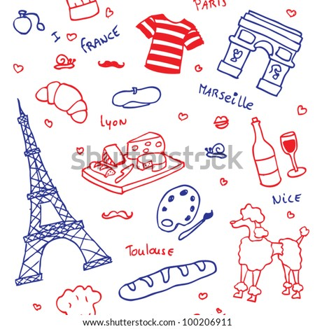 french symbols icons seamless pattern stock vector 2018 100206911 rh shutterstock com French Symbols and Meanings Royal French Symbol