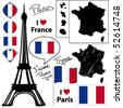 French symbols and icons. Vector collection. - stock photo