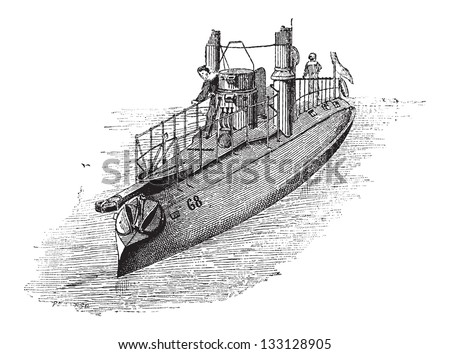 French Torpedo Boat, Number 63, in 1884, vintage engraved illustration. Dictionary of Words and Things - Larive and Fleury - 1895 - stock vector