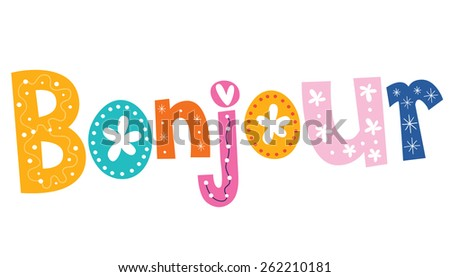 french word Bonjour - stock vector