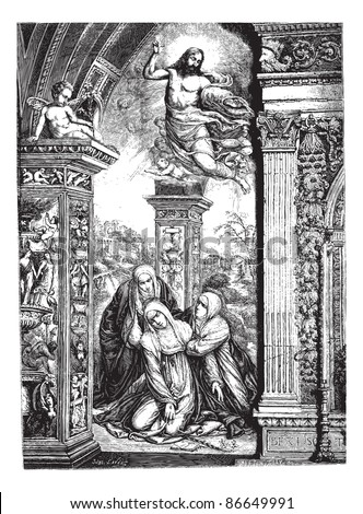 Frescoes in the church of San Domenico in Siena, by Razzi (jumper Sodoma). Drawing by J. Lavee, vintage engraved illustration. Magasin Pittoresque 1874. - stock vector