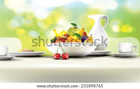 Fresh and healthy breakfast table set with bowl of fruits. - stock vector