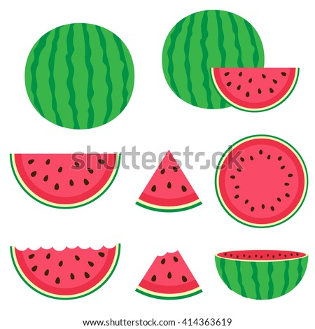Fresh and juicy whole watermelons and slices - stock vector
