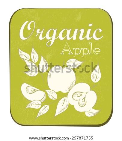 Fresh Apple Orange Label. Vector illustration. Retro fruit design. Vector old paper texture background. - stock vector