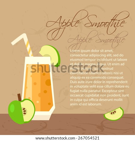 Fresh apple smoothie for healthy life. Menu element for cafe or restaurant with energetic fresh drink.  - stock vector