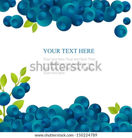 Fresh blueberry with green leafs on white background - stock vector