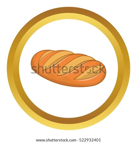Fresh bread vector icon in golden circle, cartoon style isolated on white background