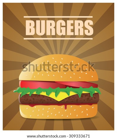 Fresh burger with tomatoes, lettuce, cheese, meat and ketchup.