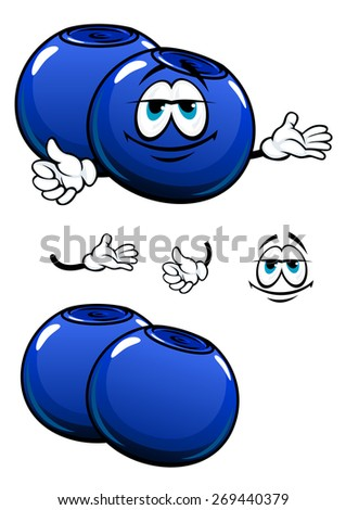 Fresh cartoon blueberry characters showing blue  berries with flared crowns at the ends suited for healthy food or recipe book design - stock vector