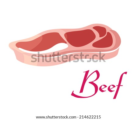 Fresh cartoon tasty raw beef meat with text Beef isolated on white background, suitable for farm and food  design - stock vector