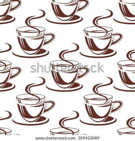 Fresh coffee cups seamless pattern with brown elegant cups on white background