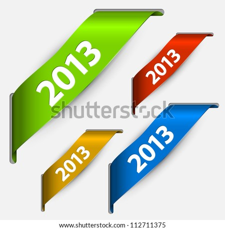 Fresh colorful New Year ribbon vector illustration with 2013 - stock vector