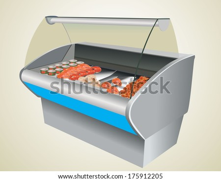 Fresh cool fish shrimp and caviar in refrigerator in a shop - stock vector