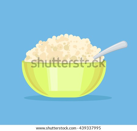 Fresh cottage cheese in plate. Vector flat cartoon illustration - stock vector