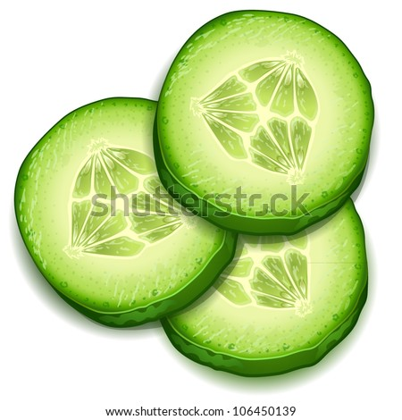 Fresh cucumber slice isolated on white background-vector
