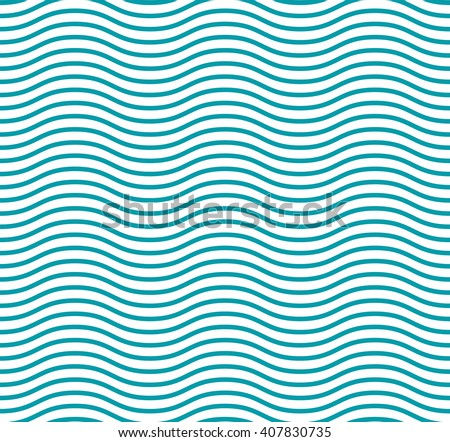 Fresh cute sea wave blue seamless pattern and a curved line for packaging paper - stock vector