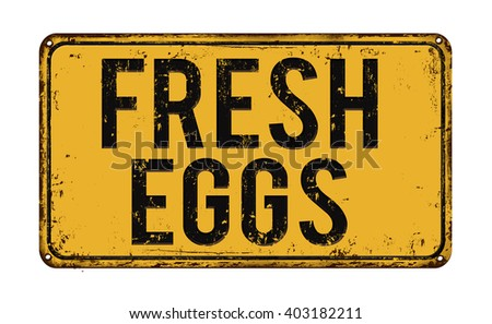 Fresh eggs on yellow vintage rusty metal sign on a white background, vector illustration - stock vector