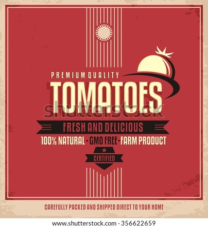 Fresh farm product poster design. Tomatoes retro logo label. Promotional vintage printing material for healthy food product. Vegetables vector illustration. - stock vector