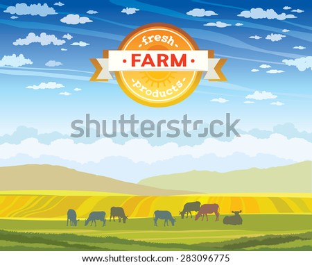 Fresh farm products. Herd of cows in green field on a blue cloudy sky . Vector rural nature landscape. - stock vector