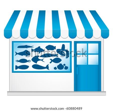 Fresh fish. Vector fishmonger. - stock vector